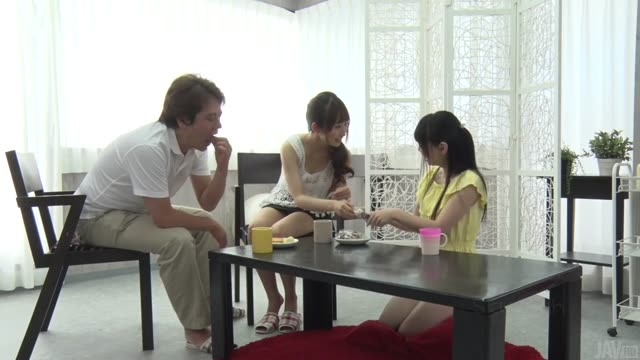 Father and two beautiful daughters happy sex service